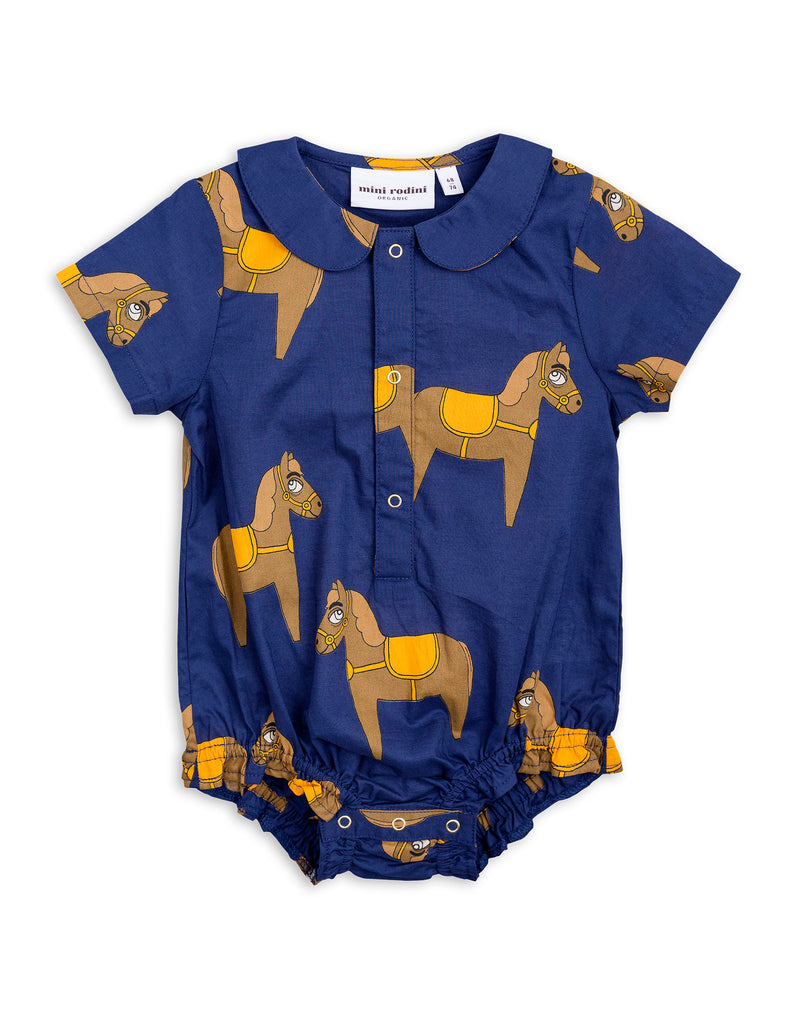 Mini Rodini Horse Navy Woven Bodysuit Afterpay Cool Baby Clothes