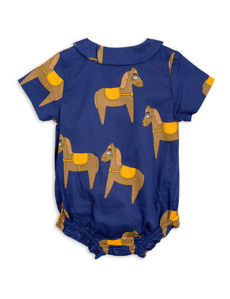 Mini Rodini Horse Navy Woven Bodysuit Afterpay Cool Baby Clothes Australia
