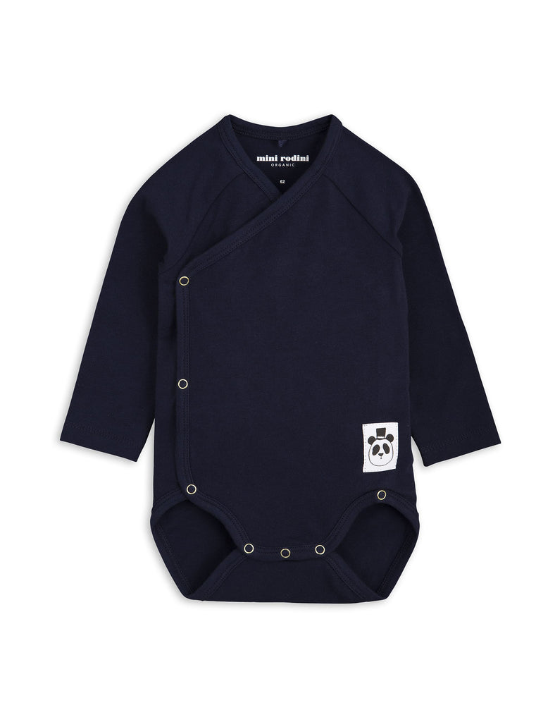 Mini Rodini Basic Navy Organic LS Newborn Wrap Bodysuit Afterpay Cool Baby Clothes
