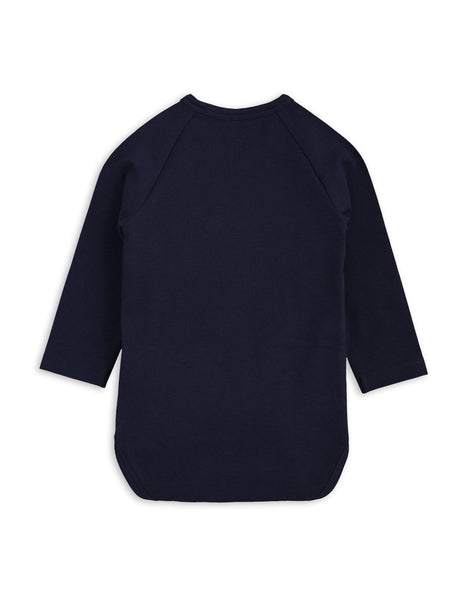 Mini Rodini Basic Navy Organic LS Newborn Wrap Bodysuit Afterpay Australia