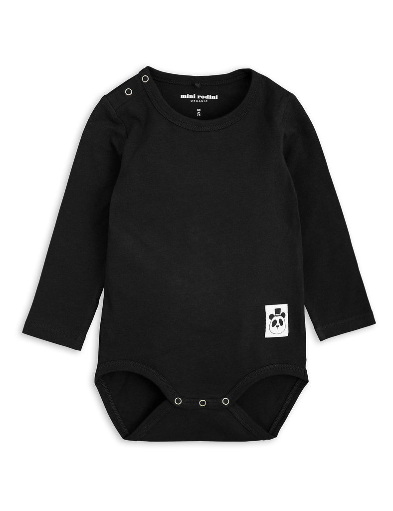 Mini Rodini Basic Black Organic LS Bodysuit Afterpay Cool Baby Clothes