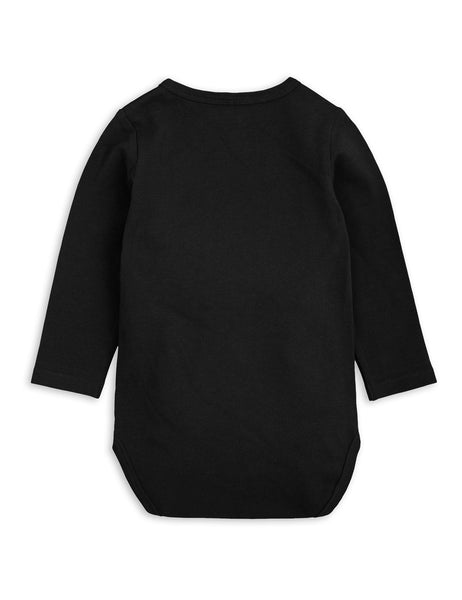 Mini Rodini Basic Black Organic LS Bodysuit Afterpay Australia
