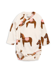 Mini Rodini Horse Pink Organic LS Newborn Wrap Bodysuit Afterpay Cool Baby Clothes
