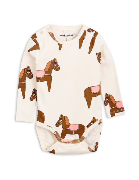 Mini Rodini Horse Pink Organic LS Bodysuit Afterpay Cool Baby Clothes