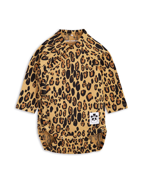 Mini Rodini Basic Leopard Organic LS Newborn Wrap Bodysuit Afterpay Cool Baby Clothes