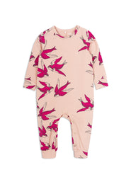 Mini Rodini Swallows Pink Organic Jumpsuit Afterpay Cool Baby Clothes