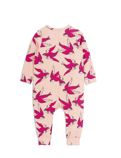 Mini Rodini Swallows Pink Organic Jumpsuit Afterpay Cool Baby Clothes Australia