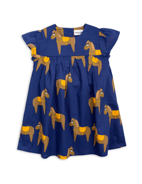 Mini Rodini Horse Navy Woven Frill Dress Afterpay Cool Kids Clothes