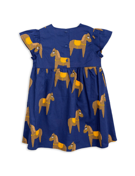 Mini Rodini Horse Navy Woven Frill Dress Afterpay Cool Kids Clothes Australia