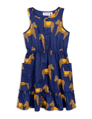Mini Rodini Horse Navy Woven Flounce Dress Afterpay Cool Kids Clothes