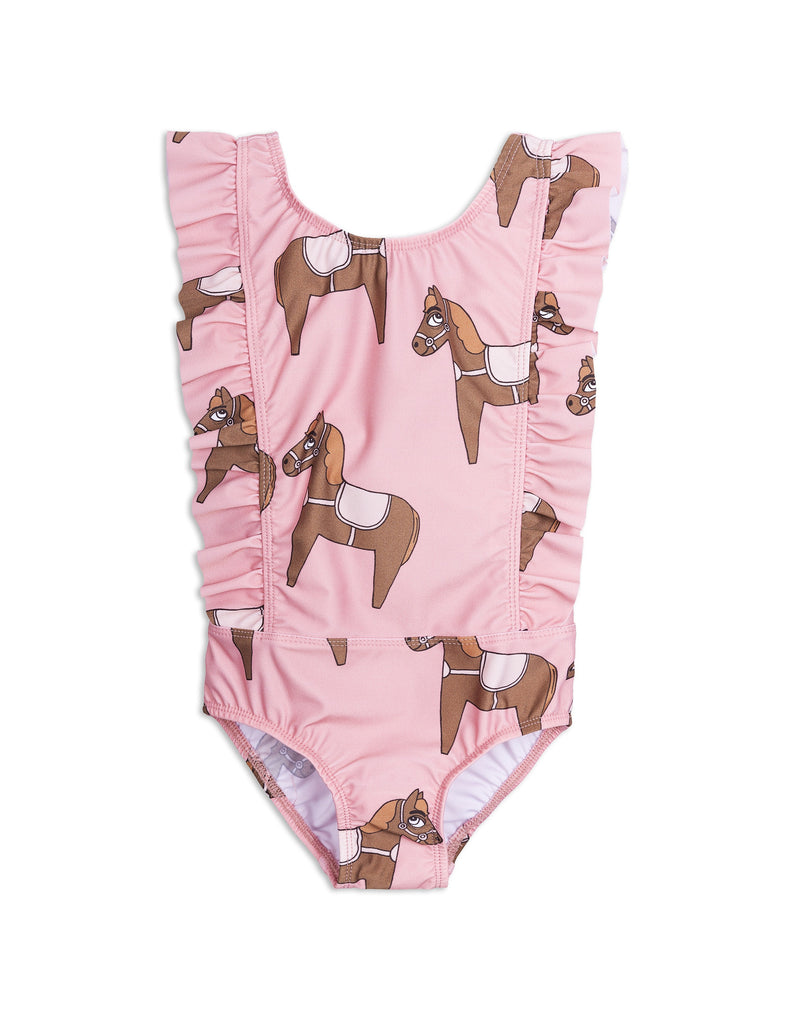Mini Rodini Horse Pink Ruffled Swimsuit Afterpay Cool Kids Clothes