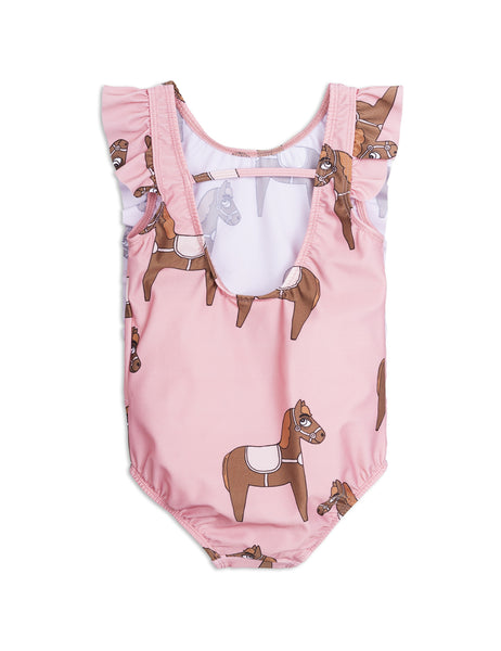 Mini Rodini Horse Pink Ruffled Swimsuit Afterpay Cool Kids Clothes Australia