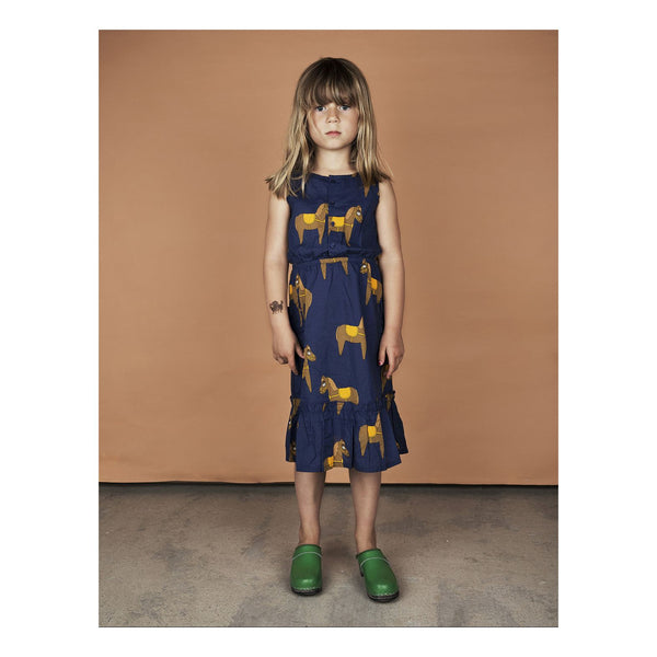Mini Rodini Horse Navy Woven Flounce Dress Designer Kids Clothes