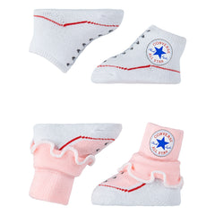 Baby Converse Chuck Taylor Newborn Frilly Knit Booties 2 Pack Pink