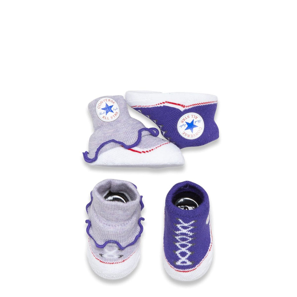 7d129bbddf54 Baby Converse Chuck Taylor Newborn Frilly Knit Booties 2 Pack Purple  Afterpay