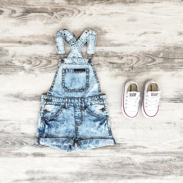 Beau Hudson Denim Overalls & White Converse Kids Shoes