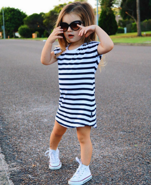 Beau Hudson Stripe Tee Dress Afterpay