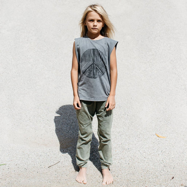 Children of the Tribe Drop Crotch Pants | Green Stonewash Afterpay