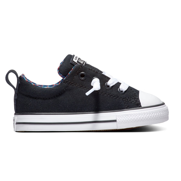 Converse Kids Chuck Taylor All Star Street Plaid Slip On Toddler Low Top Black