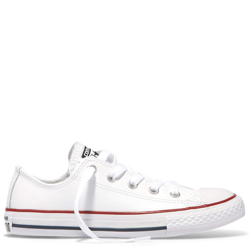 dff75953cb6634 Converse Kids Chuck Taylor All Star Junior Low Top White Leather ...