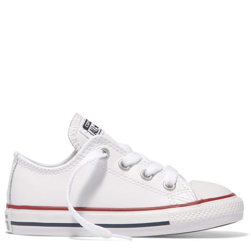 da0bdf5cb330 Converse Kids Chuck Taylor All Star Toddler Low Top White Leather ...