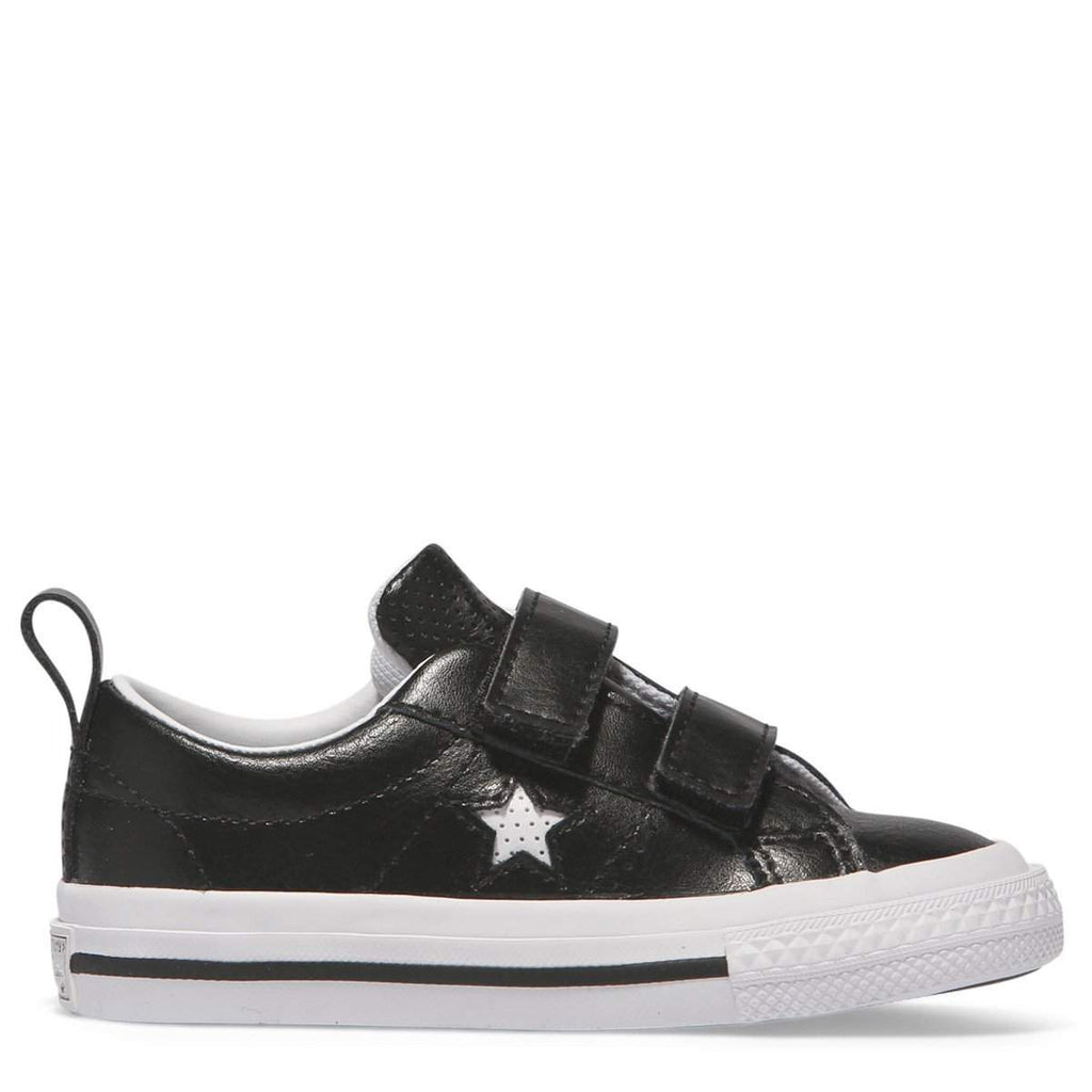 504ac1eaac3b38 Converse Kids Black One Star Leather 2V Toddler Low Top