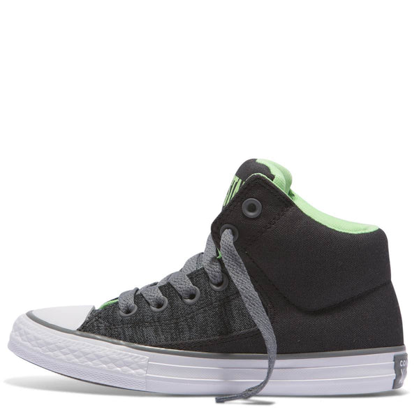Converse Kids Chuck Taylor All Star High Street Heather Textile Junior High Top Almost Black Afterpay Kids Shoes