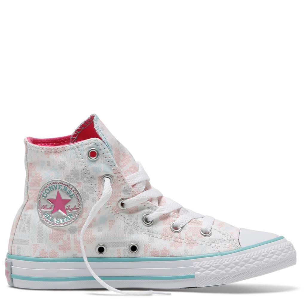 795650857eeb Converse Kids Chuck Taylor All Star Junior High Top White Pink Pow Afterpay