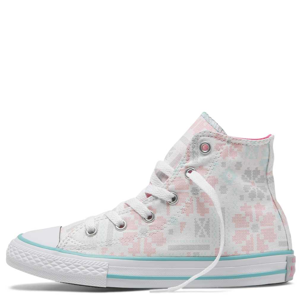 985b9317eb82 ... Converse Kids Chuck Taylor All Star Junior High Top White Pink Pow  Afterpay Online ...