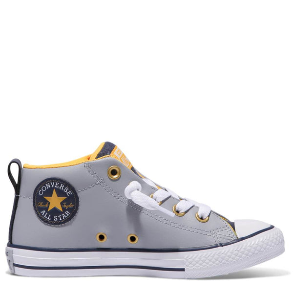 Converse Kids Chuck Taylor All Star Street Leather Junior Mid Wolf Grey Afterpay