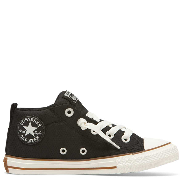 Converse Kids Chuck Taylor All Star Street Pinstripe Junior Mid Top Black Afterpay