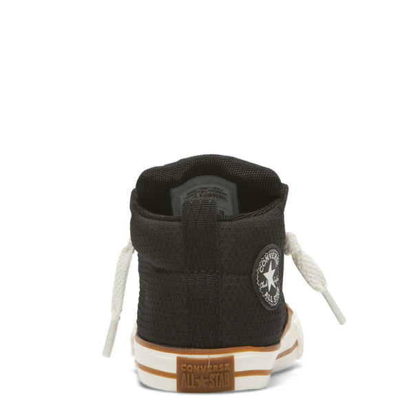 Converse Kids Chuck Taylor All Star Street Pinstripe Toddler Mid Top Black Boys Shoes