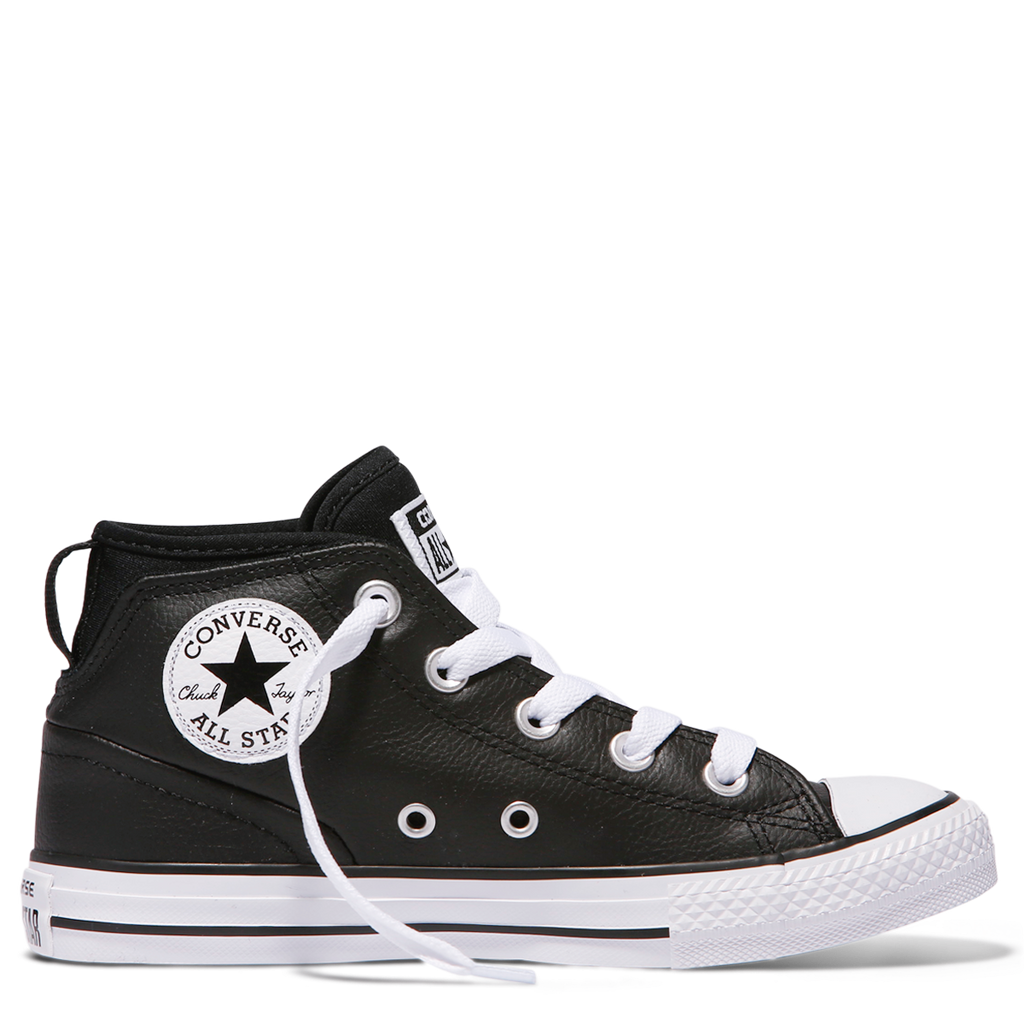 Converse Kids Chuck Taylor All Star Syde Street Leather Youth Mid | Black Afterpay