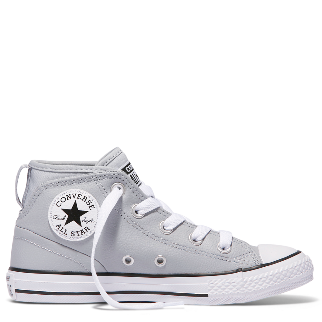9eb63b2566c Converse Kids Chuck Taylor All Star Syde Street Leather Youth Mid Wolf Grey