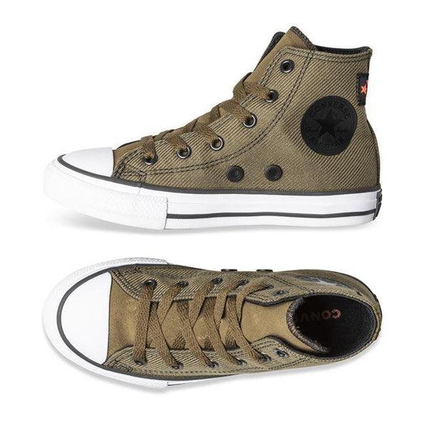 Converse Kids Chuck Taylor All Star Twill Junior High Top Olive