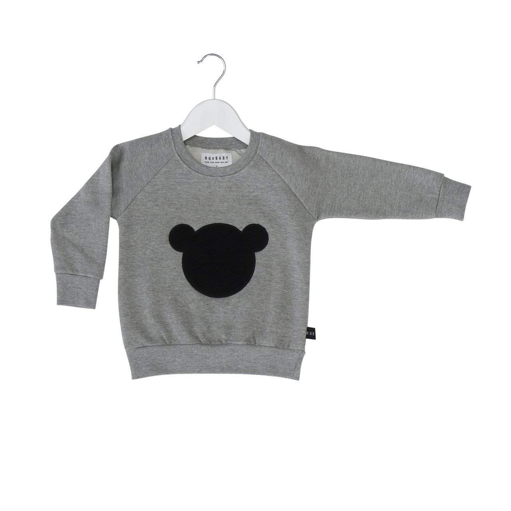 Huxbaby Grey Shadow Bear Sweatshirt Afterpay