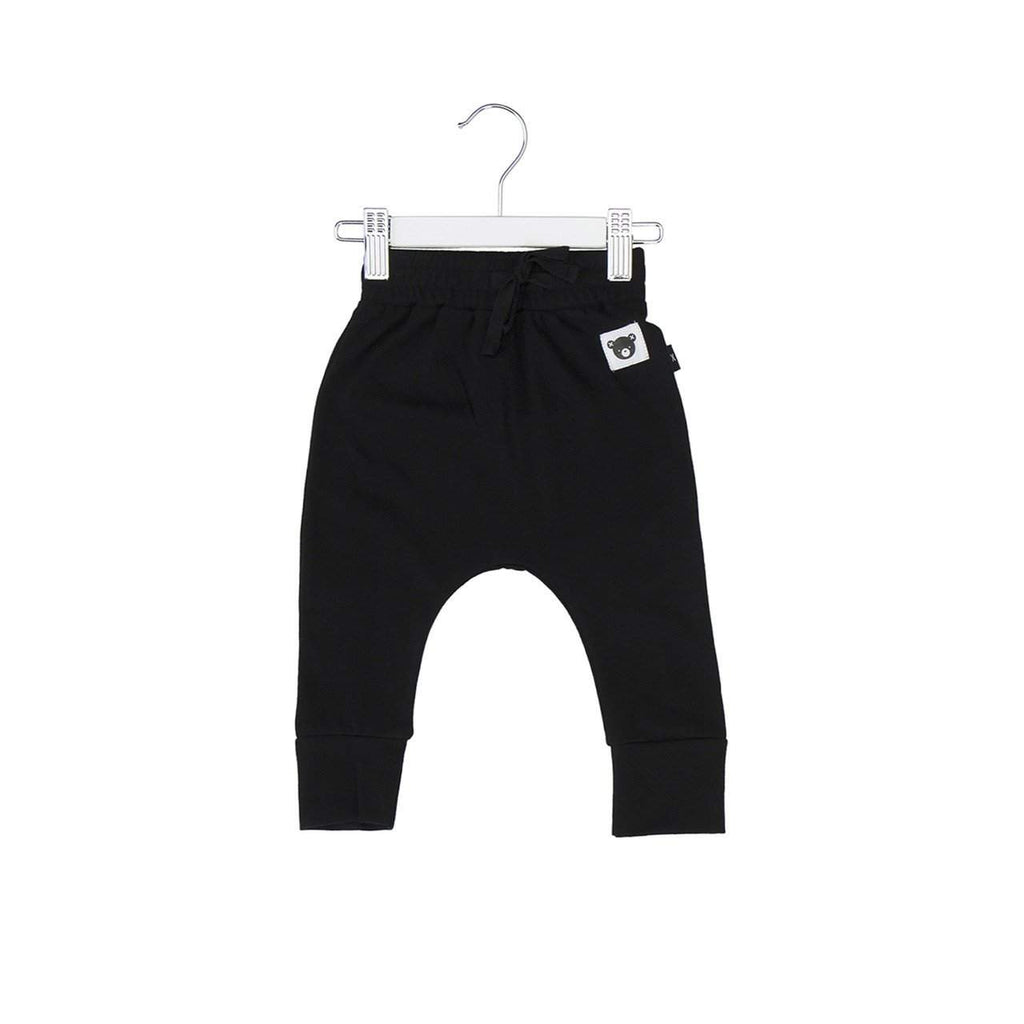 Huxbaby Black Bear Essentials Drop Crotch Pants Afterpay