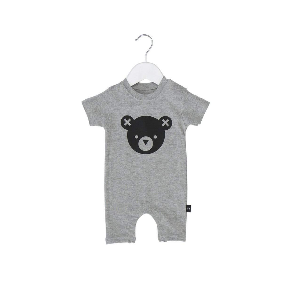 Huxbaby Grey Bear Essentials Short Romper Afterpay