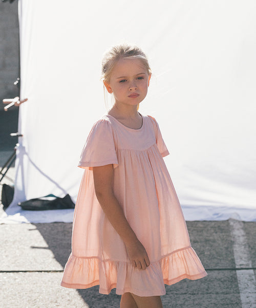 Huxbaby Organic Leah Dress Light Pink Cool Girls Clothes Online Australia