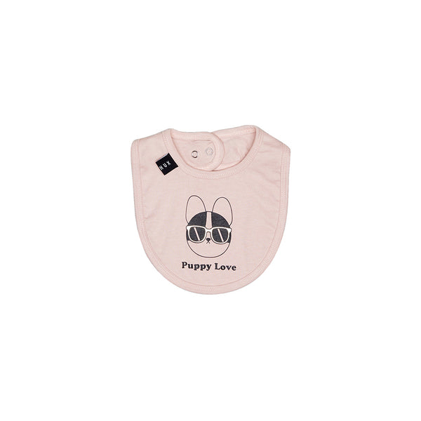 Huxbaby Organic Puppy Love Bib Rose Dust Cool Baby Clothes Online Australia Afterpay