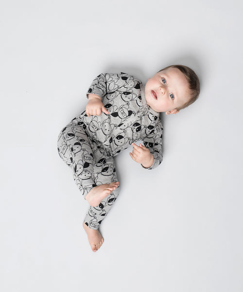 Huxbaby Organic Puppy Love Zip Romper Cool Baby Boy Clothes Online Australia
