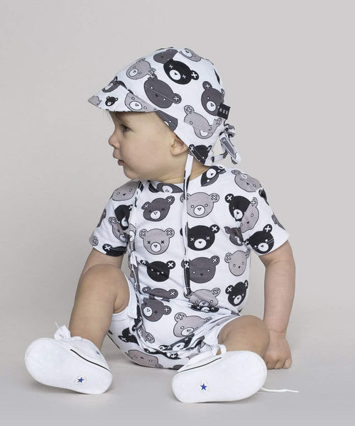 Huxbaby White Emoti Bears Short Romper Afterpay