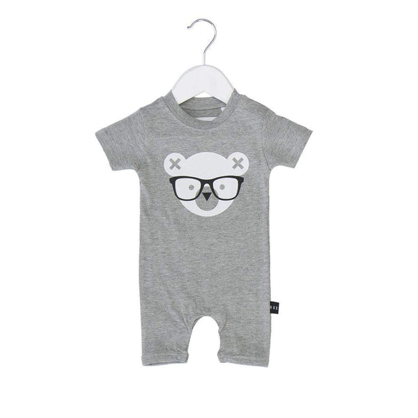 Huxbaby Grey Nerd Bear Short Romper Afterpay