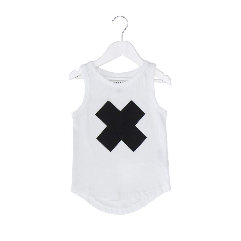 Huxbaby White Cross Shadow Singlet Afterpay