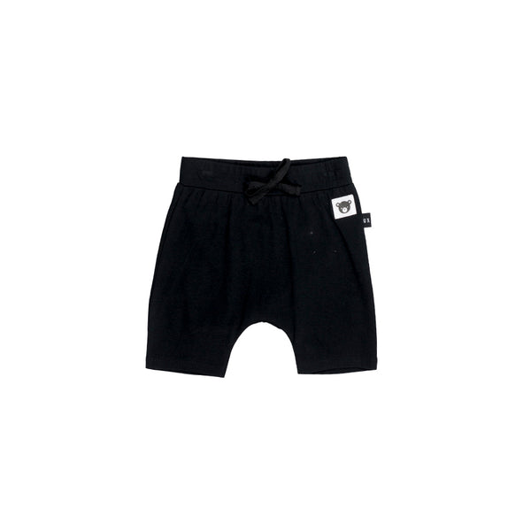 Huxbaby Black Bear Essentials Drop Crotch Shorts Afterpay