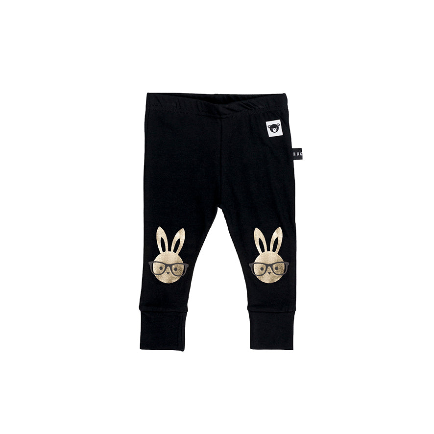 Huxbaby Black Bunny Print Leggings