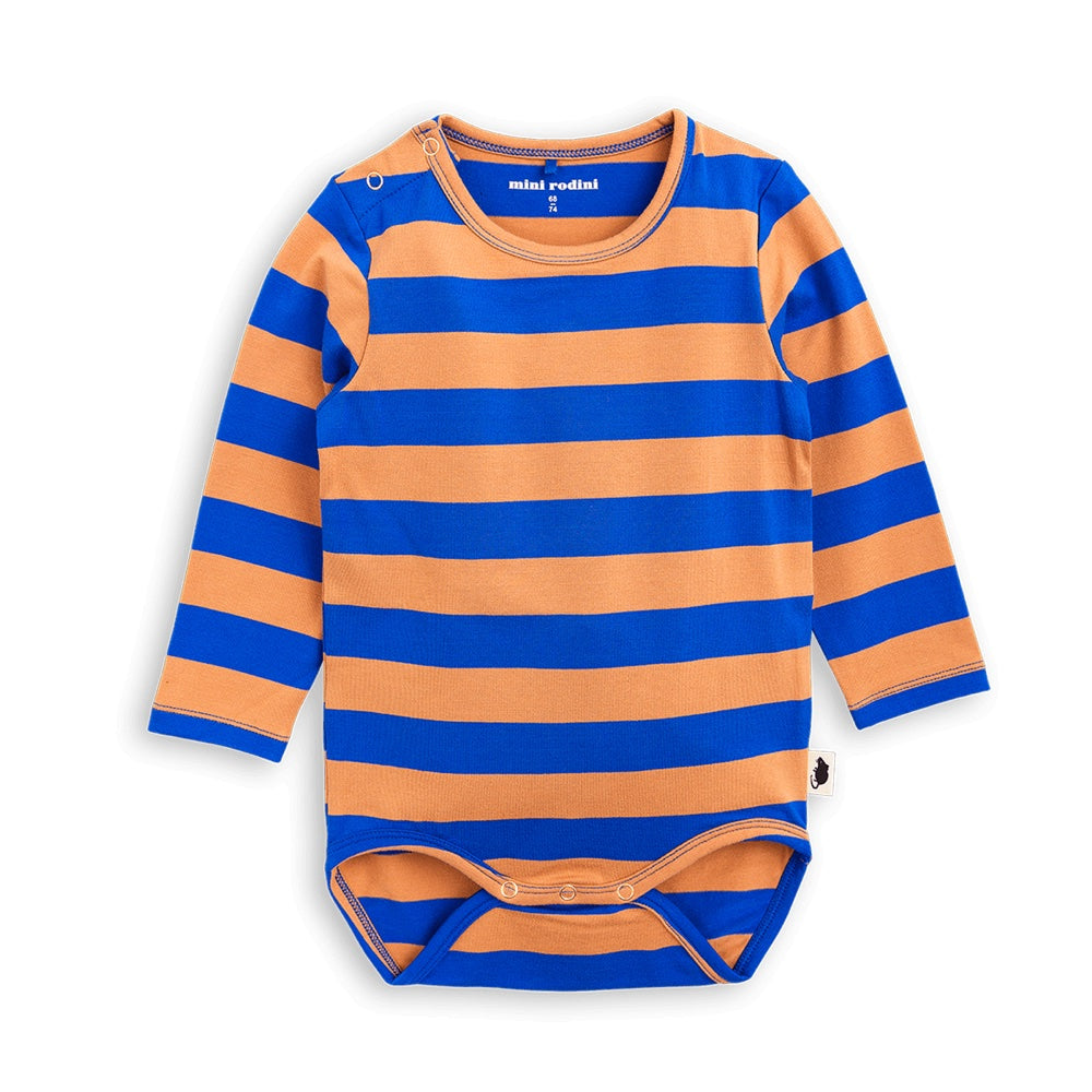 Mini Rodini Block Stripe Blue LS Bodysuit Afterpay