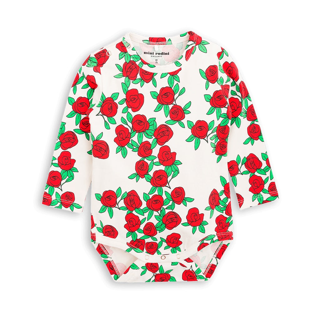 Mini Rodini Rose Organic LS Bodysuit | Last Two Afterpay