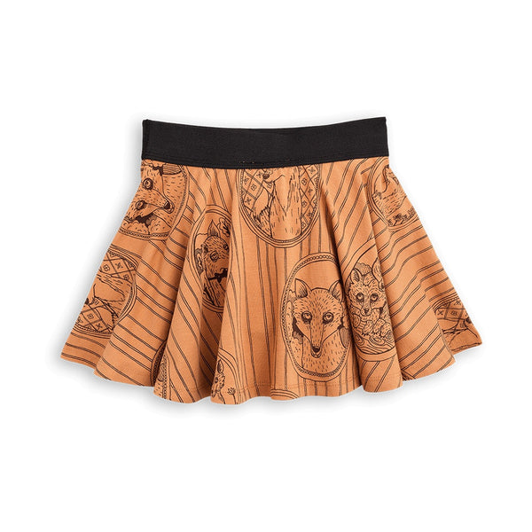 Mini Rodini Fox Family Brown Organic Skirt Afterpay