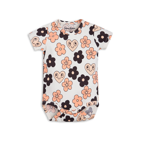 Mini Rodini Flowers Off White Organic SS Bodysuit | Size 4-9M Last One Afterpay